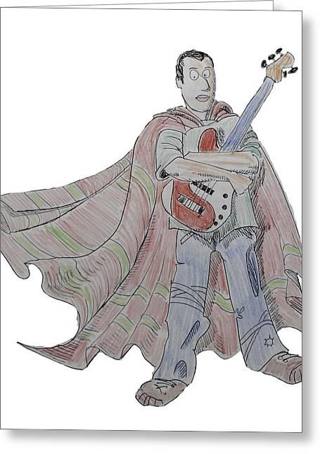 Bass Guitarist Cartoon Greeting Card