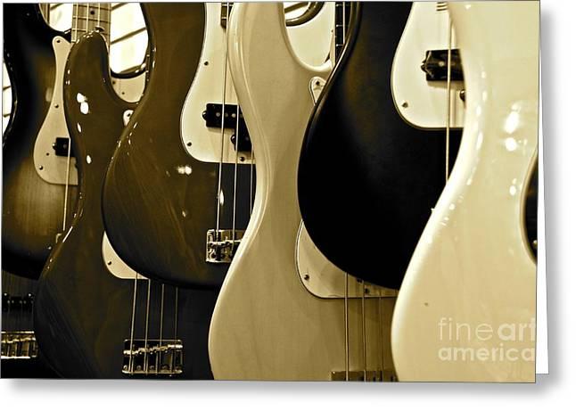 Bass Guitars  Greeting Card