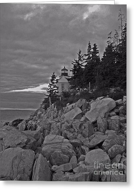 Bass Harbor Black And White   Greeting Card by Helene Guertin