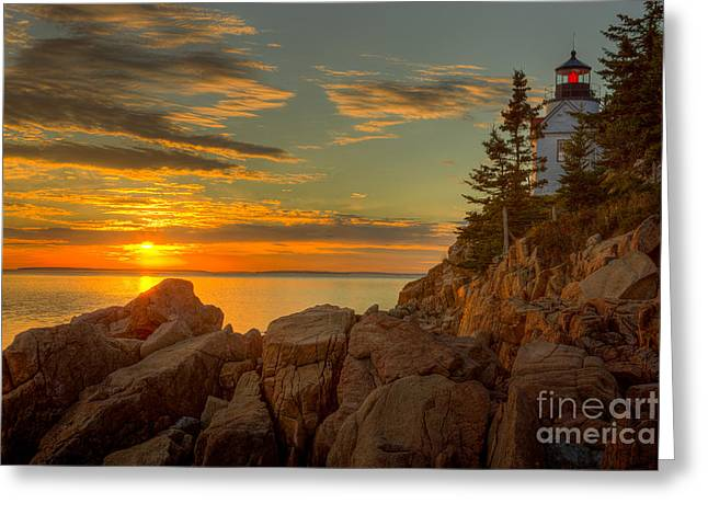 Bass Harbor Head Light At Sunset I Greeting Card by Clarence Holmes