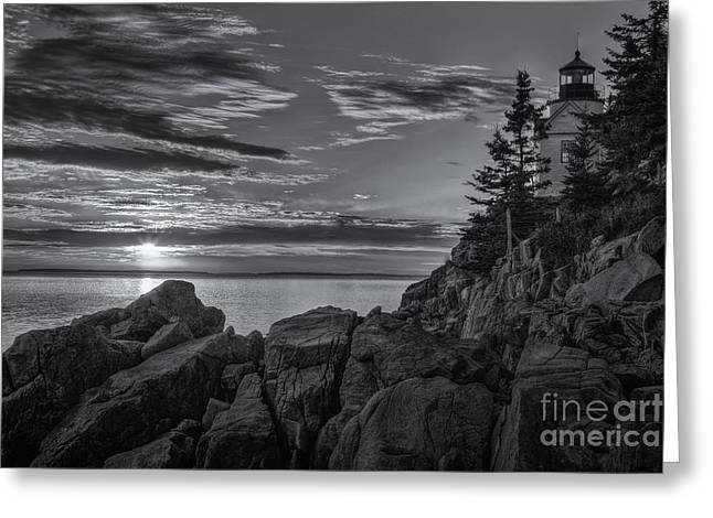 Bass Harbor Head Light At Sunset II Greeting Card by Clarence Holmes