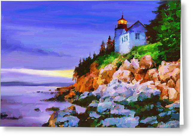 Bass Harbor Head Light At Sunset Greeting Card by Marina Likholat