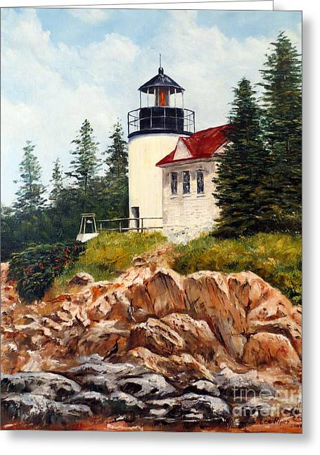 Greeting Card featuring the painting Bass Harbor Head Light by Lee Piper