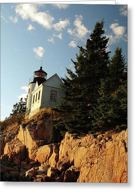Bass Harbor Head Lighthouse In Late Greeting Card by Michel Hersen