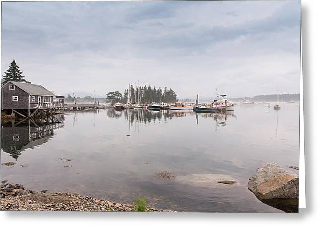 Bass Harbor In The Morning Fog Greeting Card