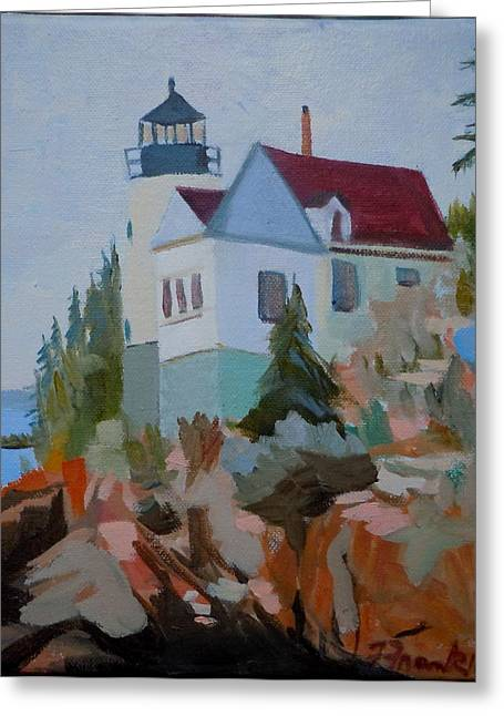 Bass Harbor Light Greeting Card by Francine Frank
