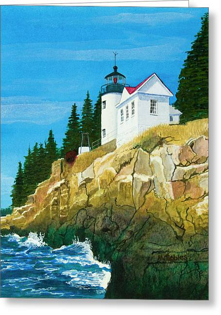 Bass Harbor Lighthouse Greeting Card by Mike Robles