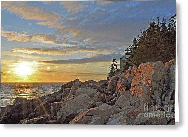Greeting Card featuring the photograph Bass Harbor Lighthouse Sunset Landscape by Glenn Gordon