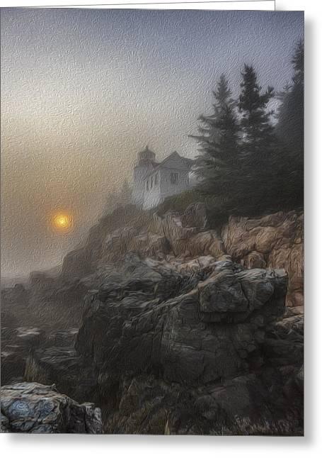 Bass Harbor Mist Greeting Card by Sara Hudock