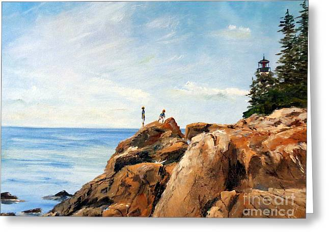 Greeting Card featuring the painting Bass Harbor Rocks by Lee Piper