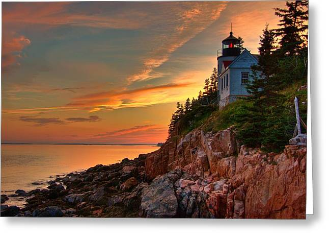 Bass Harbor Sunset Greeting Card by Norm Hoekstra