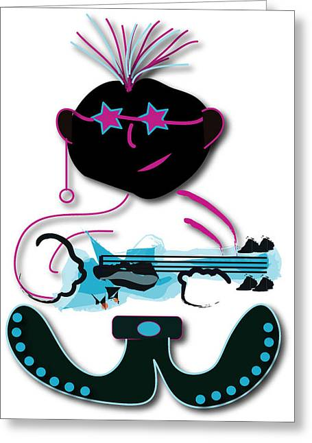 Greeting Card featuring the digital art Bass Man by Marvin Blaine