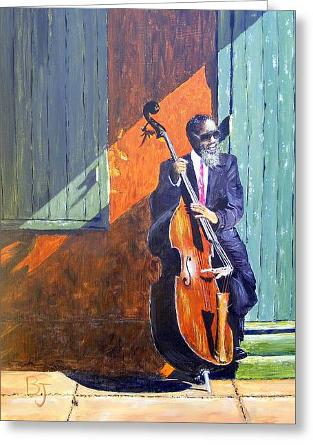 Bass Player In New Orleans Greeting Card by Barbara Jacquin