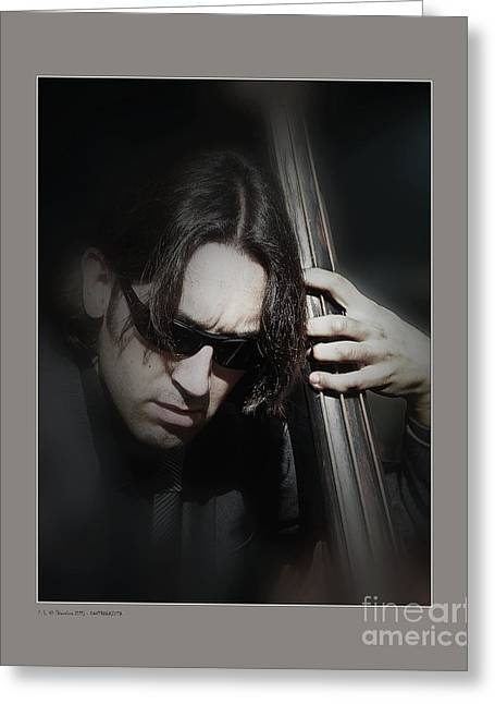 Bass Player Greeting Card by Pedro L Gili