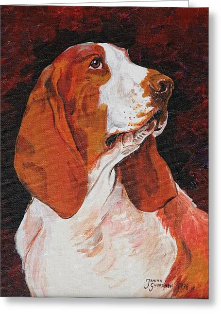 Basset Called Mary Greeting Card by Janina  Suuronen