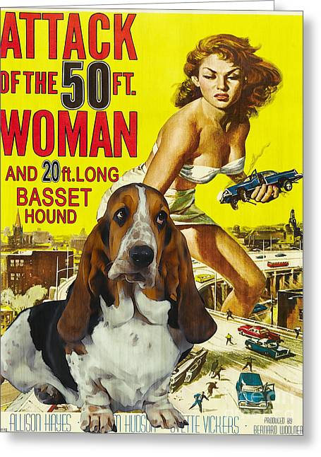 Basset Hound Art Canvas Print - Attack Of The 50ft Woman Movie Poster Greeting Card