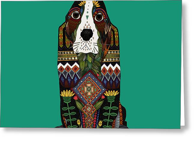 Basset Hound Jade Greeting Card
