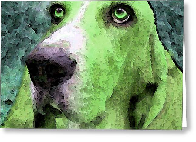 Basset Hound - Pop Art Green Greeting Card by Sharon Cummings