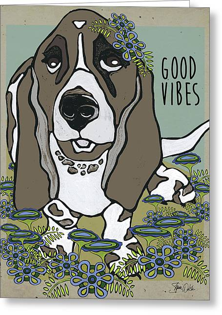 Basset In The Garden Greeting Card by Shanni Welsh