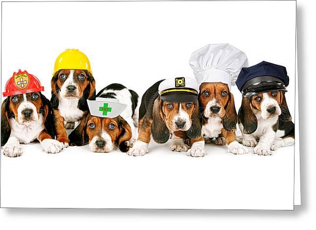 Bassets In Work Hats  Greeting Card by Susan Schmitz