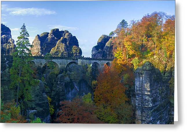 Bastei Bridge In The Elbe Sandstone Mountains Greeting Card