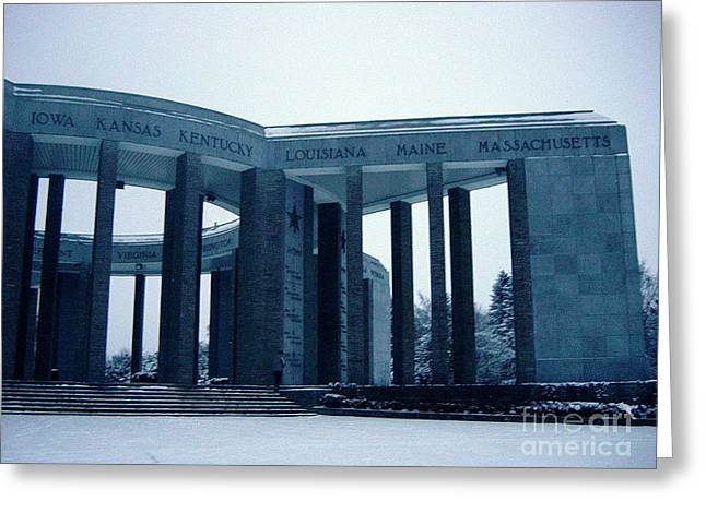Greeting Card featuring the photograph Bastogne Liberation Memorial by Deborah Smolinske
