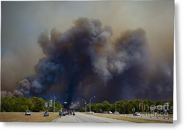 Bastrop Burning Car Explosion Greeting Card