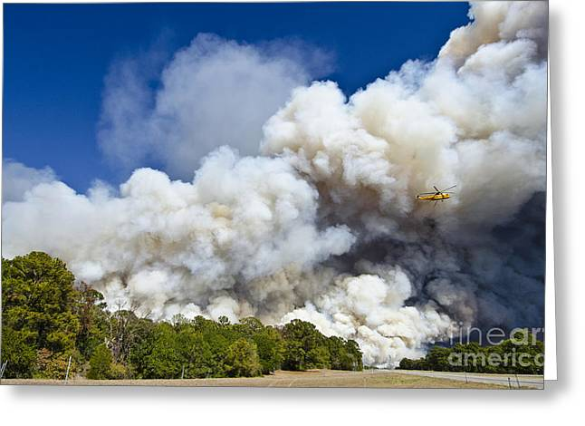 Bastrop Burning Helicopter Greeting Card