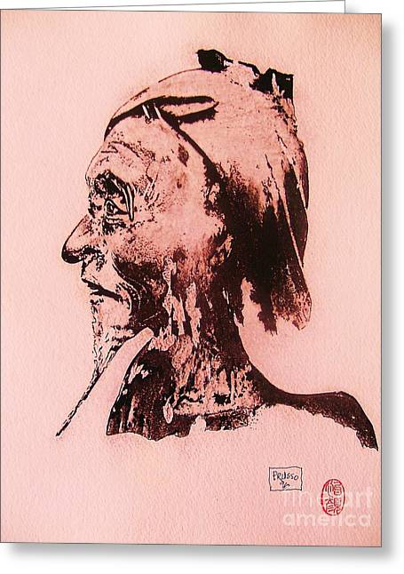 Greeting Card featuring the drawing Basu Sennin by Roberto Prusso