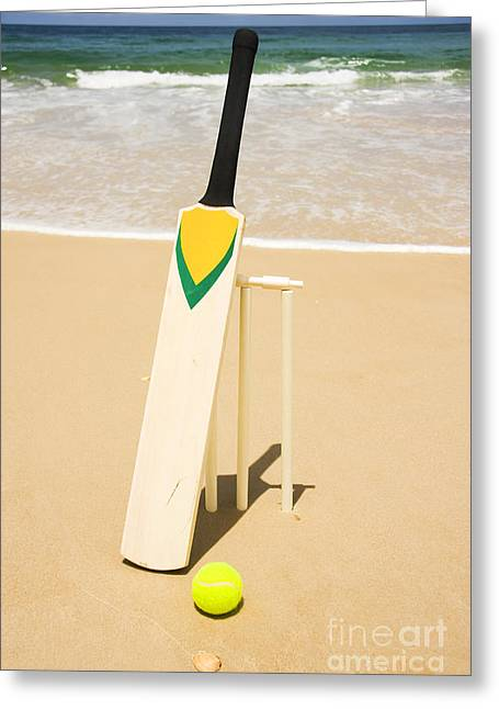 Bat Ball And Stumps Greeting Card by Jorgo Photography - Wall Art Gallery