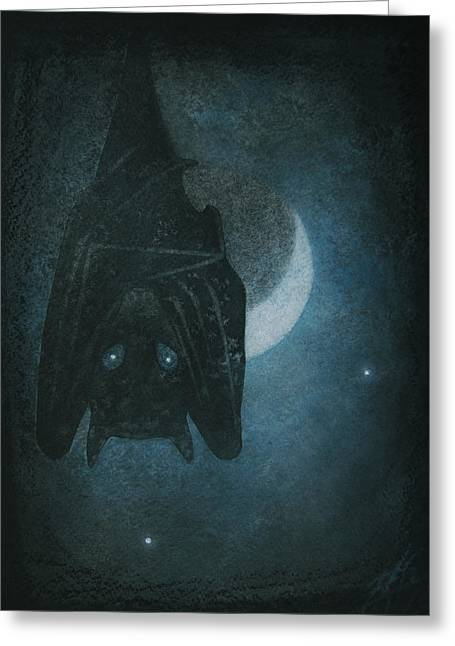 Bat With Crescent Moon Greeting Card