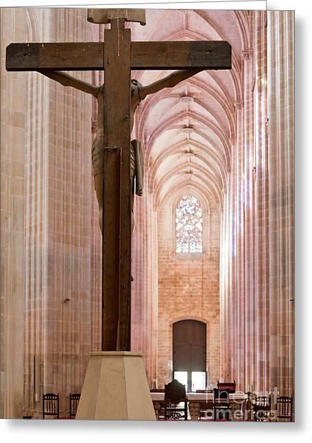 Batalha Monastery Altar Crucifix Greeting Card