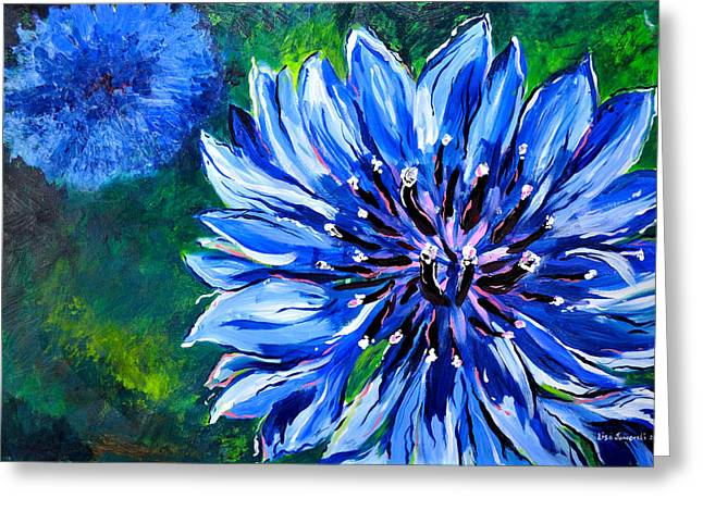 Greeting Card featuring the painting Batchelor Button Flower by Lisa Fiedler Jaworski