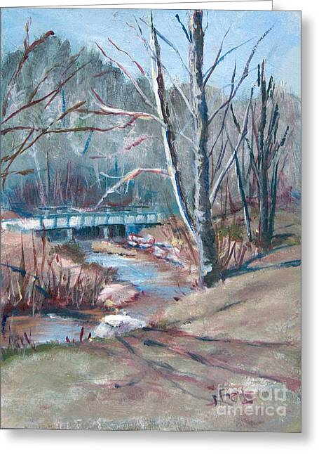 Walking The Greenway Greeting Card by Janet Felts