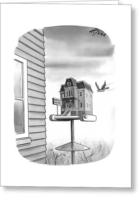 Bates Motel Birdhouse Greeting Card
