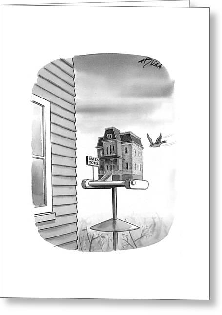 Bates Motel Birdhouse Greeting Card by Harry Bliss