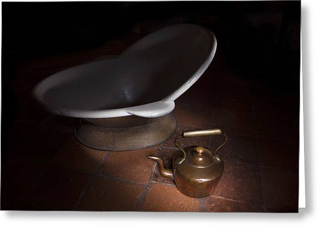 Bath And Kettle Greeting Card by Niall McWilliam