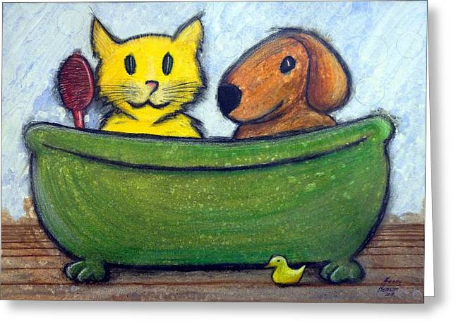 Greeting Card featuring the mixed media Bath Friends by Kenny Henson