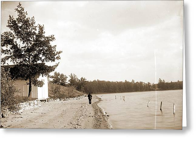 Bath House, Lake Orion, Mich, Bathhouses, Lakes & Ponds Greeting Card