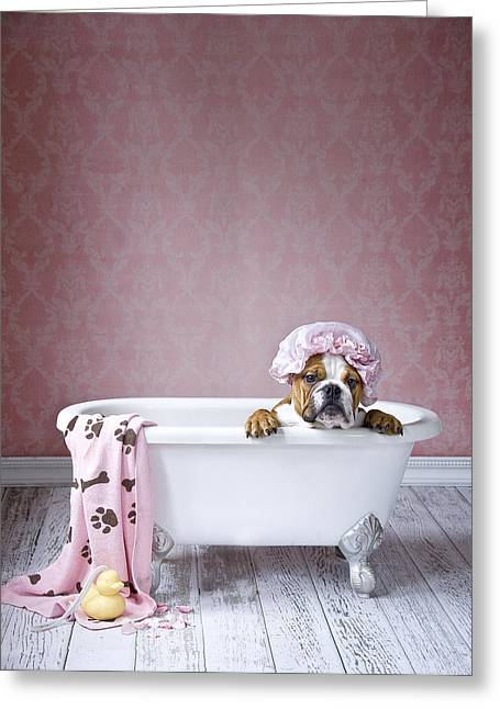 Bath Time Greeting Card by Lisa Jane