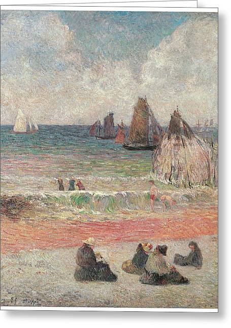 Bathers At Dieppe Greeting Card by Paul Gauguin