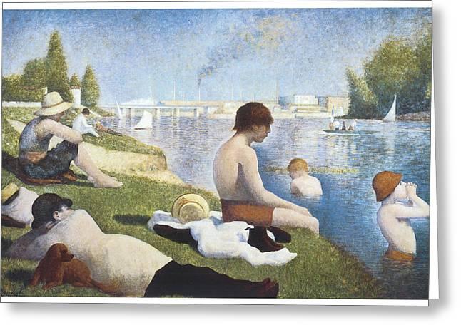 Bathing At Asnieres Greeting Card by George-Pierre Seurat