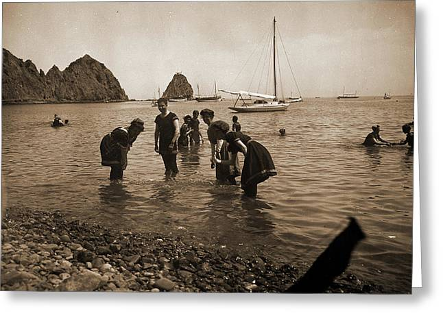 Bathing At Avalon, Santa Catalina Island, Beaches, Wading Greeting Card
