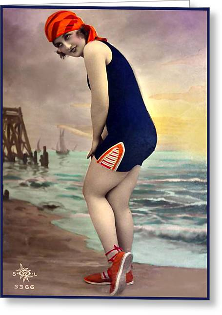 Bathing Beauty In Orange And Navy Bathing Suit Greeting Card
