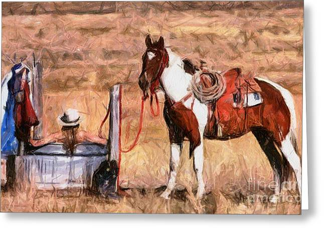 Bathing Cowgirl Greeting Card by Murphy Elliott