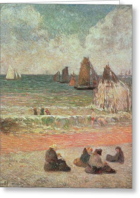 Bathing Dieppe Greeting Card by Paul Gauguin