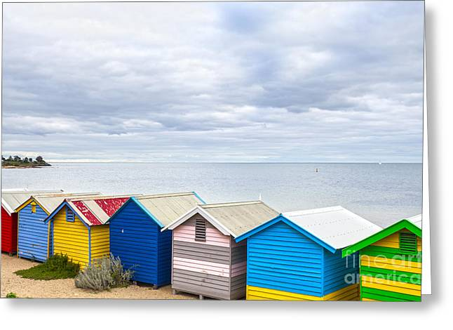 Bathing Huts Brighton Beach Melbourne Australia Greeting Card by Colin and Linda McKie