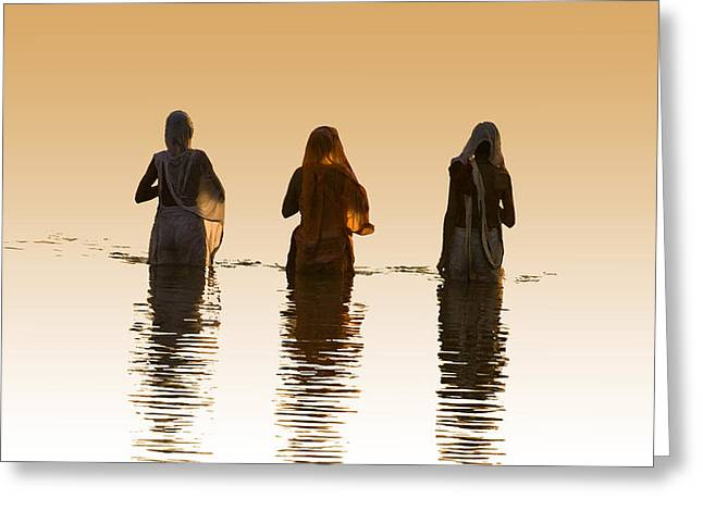 Bathing In The Holy River 2 Greeting Card by Dominique Amendola