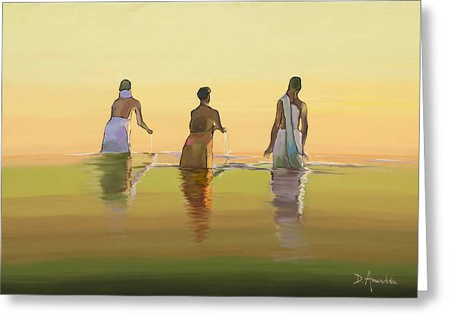 Bathing In The Holy River 3 Greeting Card