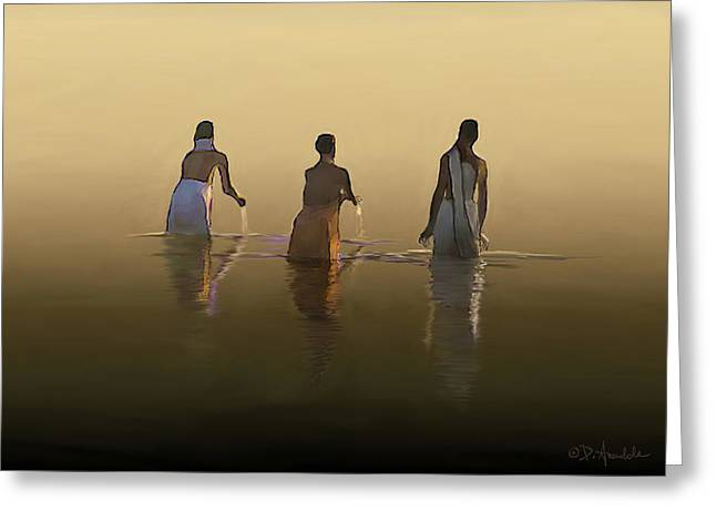 Bathing In The Holy River  Greeting Card